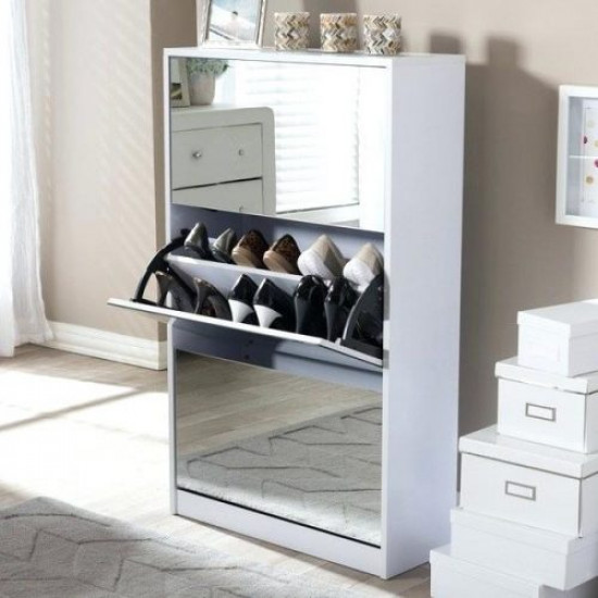 3 Door Mirror Shoe Cabinet Includes Delivery