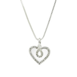 White Gold Plated Heart Pendant made with Swarovski ElementsWhite Gold Plated Heart Pendant made with Swarovski Elements