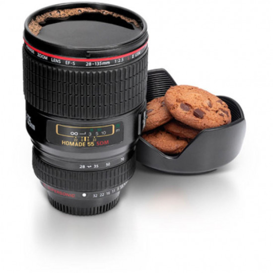 Lens Shaped Coffee Mug With Lid, Includes Delivery