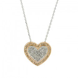 White and Rose, Gold Plated Double Heart Pendant Necklace made with Swarovski Elements